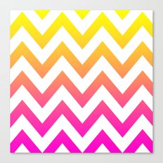 PINK & YELLOW CHEVRON FADE Canvas Print