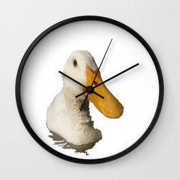 Close Up Portrait of A Cute Domestic White Duck Vector Style Wall Clock
