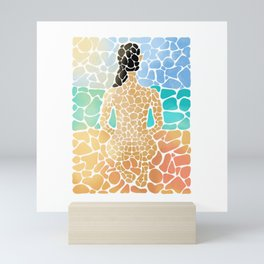 Multicolored pseudo stained-glass artwork of a girl on a sand beach looking at the sea-line Mini Art Print