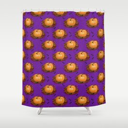 Pumpkins in a Purple Patch Shower Curtain