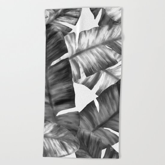 Black And White Tropical Banana Leaves Pattern Beach Towel