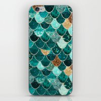 green iPhone & iPod Skins featuring REALLY MERMAID by Monika Strigel