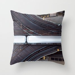 Chicago El Train Going Downtown Throw Pillow
