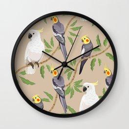 Cockatiel and Cockatoo diagonal pattern Wall Clock