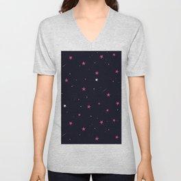 Pink Night Sky Stars  Unisex V-Neck