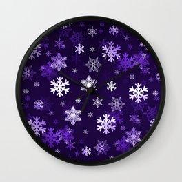 Dark Purple Snowflakes Wall Clock