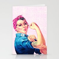 sayings Stationery Cards featuring Fight Like A Girl Rosie The Riveter Girly Mod Pink by Girly Road