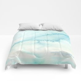 Abstract hand painted blue teal watercolor paint pattern Comforters