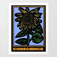 Auman Sunflower Yellow Blue Black Art Print