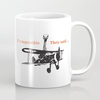 ostrich Mugs featuring OSTRICH by VINSPIRO