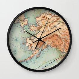 Old Alaskan Map Wall Clock