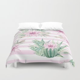 Rose Stripe Succulents - Pink and Mint Green Cactus Pattern Duvet Cover