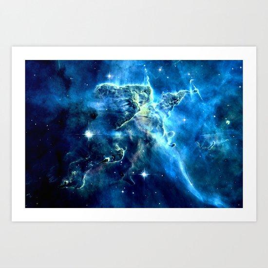 GALAxY Mystic Mountain Blue Art Print