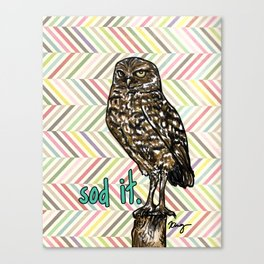 Sod It Owl- Sassy Bird Canvas Print