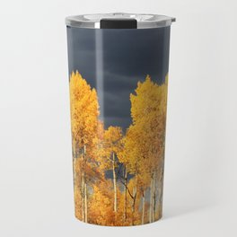 Golden Aspens and an Impending Storm Travel Mug
