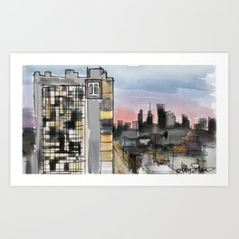 Temple University Watercolor Art Print