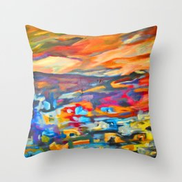 My Village | Colorful Small Mountainy Village Throw Pillow