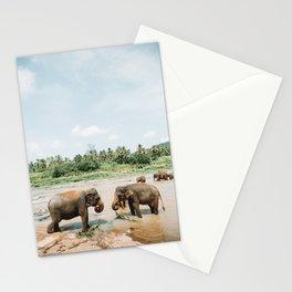 Elephants Bathing in Sri Lanka   Travel Photography   Stationery Cards