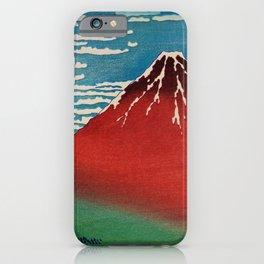 Vintage Japanese Landscape Illustration With Red Volcano iPhone Case