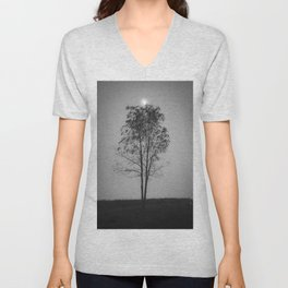 Moon over a tree Unisex V-Neck