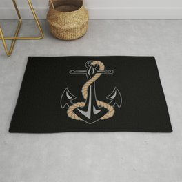 Classic Nautical Anchor and Rope Design Rug