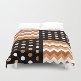 Black/Two-Tone Burnt Orange/White Chevron/Polkadot Duvet Cover