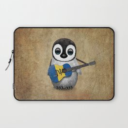 Baby Penguin Playing Barbados Flag Acoustic Guitar Laptop Sleeve