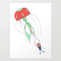 Jelly Fish Parachute  Art Print