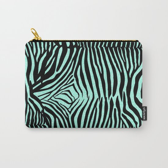 Blue & Black Glitter Zebra Print Carry-All Pouch