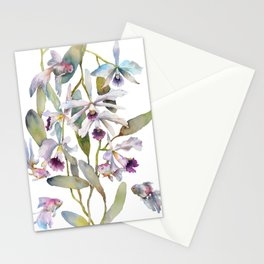 Cattleya Orchid White and Purple with Goldfish Muted Pallet Botanical Design Stationery Cards