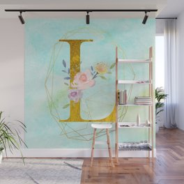 Gold Foil Alphabet Letter L Initials Monogram Frame with a Gold Geometric Wreath Wall Mural