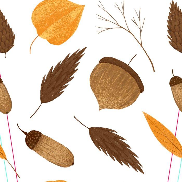 Autumn brown orange acorn fall leaves Leggings