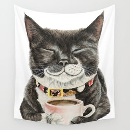 Purrfect Morning , cat with her coffee cup Wall Tapestry