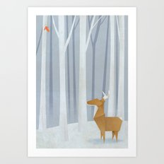 Origami deer in the Woods Art Print