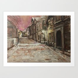 Old City Print Original Oil Painting on Canvas Art Print