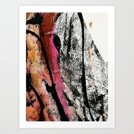 Motivation [2] : a colorful, vibrant abstract piece in pink red, gold, black and white Art Print