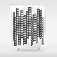 skyline Shower Curtains featuring Skyline by The New Minimalist