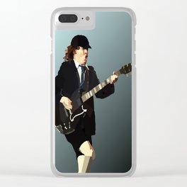 Low Polygon Portrait of Angus Young Clear iPhone Case