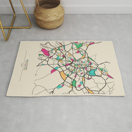 Colorful City Maps: Madrid, Spain Rug