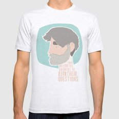 Questions Ash Grey Mens Fitted Tee SMALL