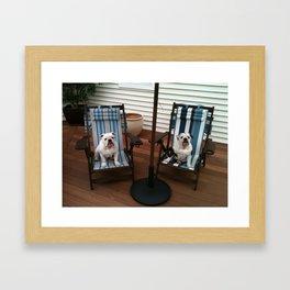 Bulldogs Lounging Framed Art Print