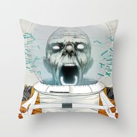 cabin pressure Throw Pillows featuring Under Pressure by Nikoby