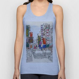 CHINATOWN, Manhattan Sketch, Colorful handmade drawing of New York Unisex Tank Top