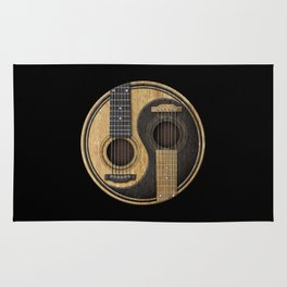 Aged Vintage Acoustic Guitars Yin Yang Rug
