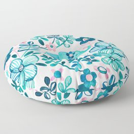 Dusty Pink, White and Teal Elephant and Floral Watercolor Pattern Floor Pillow
