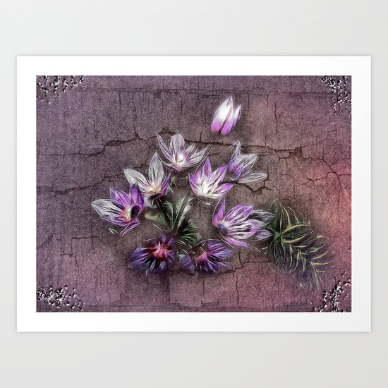 Blue Allium flowers Art Print