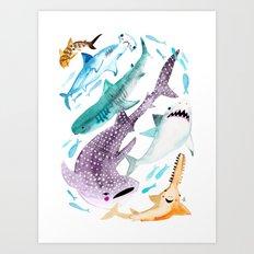 Help Stop Shark Finning - Watercolor Ocean Animals - Fish Art Print