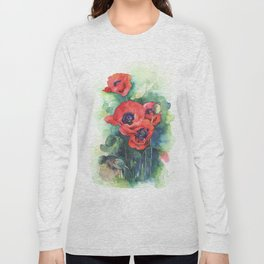 Watercolor red poppy flowers Long Sleeve T-shirt