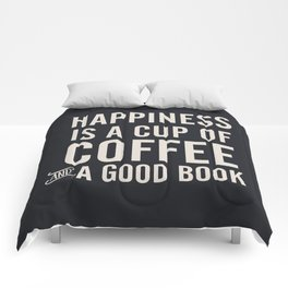 Happiness is a cup of coffee and a good book, vintage typography illustration, for libraries, pub Comforters