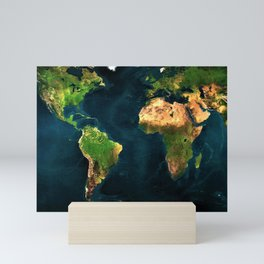 Map of the world from outer space satillite image art Mini Art Print